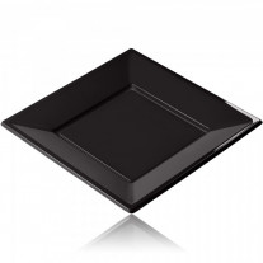 Assiette carrée Noir 18 cm x 12 pièces