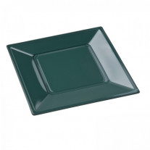 Assiette carrée plastique Vert sapin 23cm