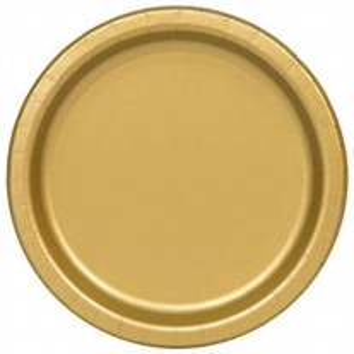 Assiette carton ronde Or 23 cm