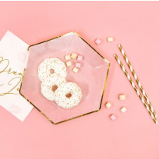 Assiette en carton hexagonale Rose et Or 23cm