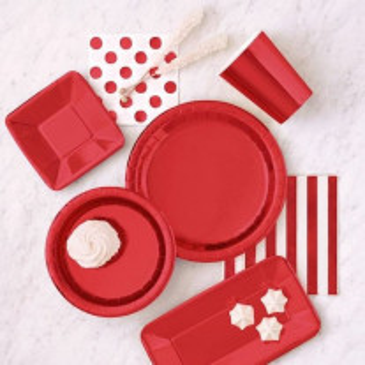 Assiette en carton Rouge Metallisé 23 cm