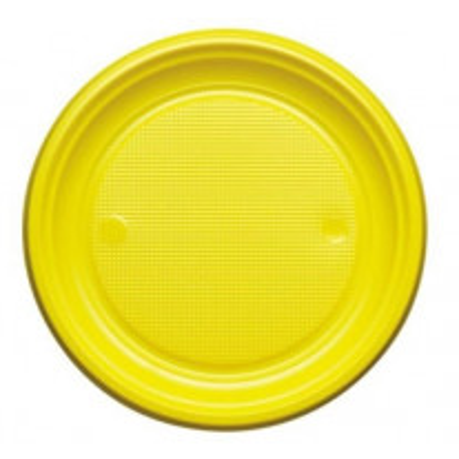 Assiette en plastique ronde Jaune 22cm
