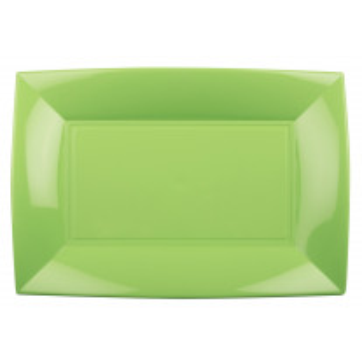 Assiette plastique rectangulaire Vert anis 28x19cm