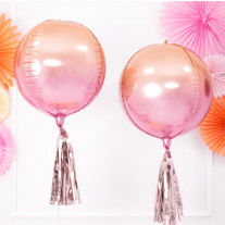 Ballon boule mylar Rose god et Orange