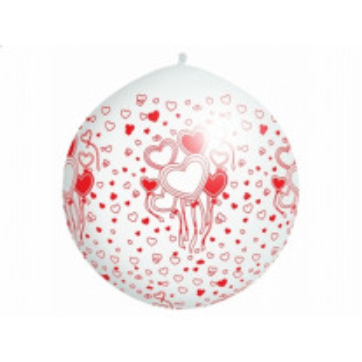 Ballon géant Mariage 1m avec coeur Rouge et Blanc