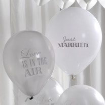 Ballon gonflable Blanc et Argent Just Married