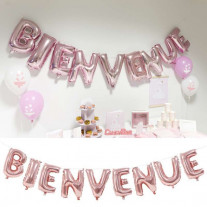 Ballon mylar Bienvenue Rose