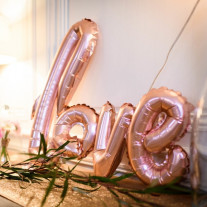 Ballon mylar mariage LOVE Rose gold
