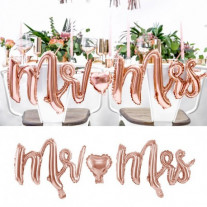 Ballon Mylar Mr Mrs Rose gold