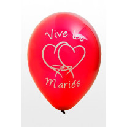 Ballon vive les mariés Rouge  x8