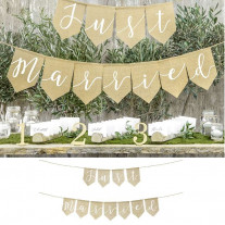 Banniere Just Married en toile de jute