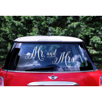 Lot de 3 Sticker mariage voiture Mr Mrs