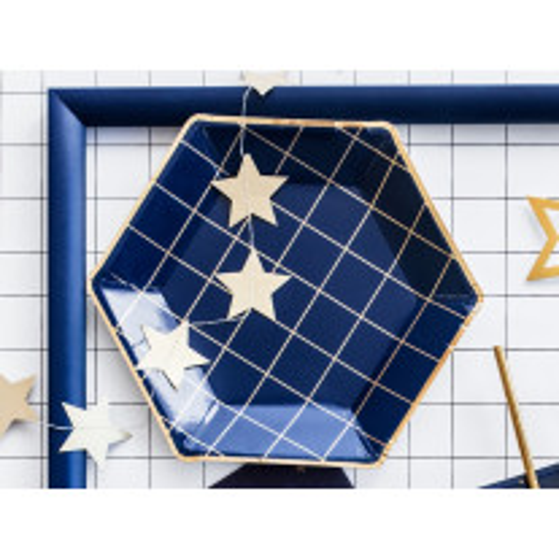 Assiette en carton hexagonale Bleu marine et Or 23cm