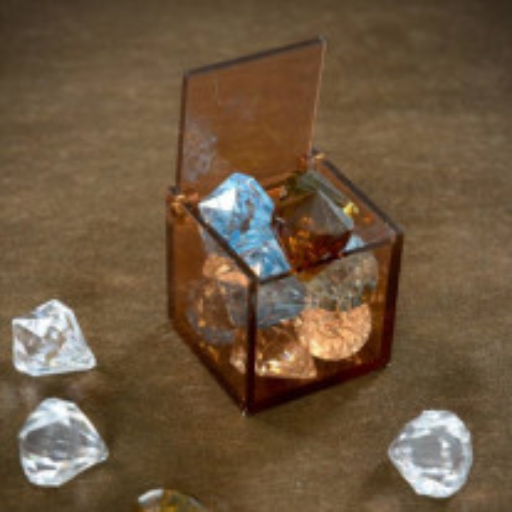 Contenant dragées plexi Cube Chocolat
