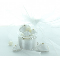 Boite dragees ronde blanche luxe mariage