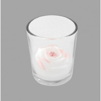 Bougeoir avec bougie forme rose Blanche