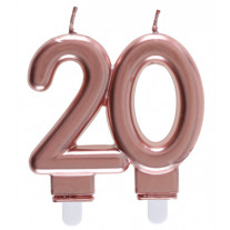 Bougie anniversaire 20 Ans rose gold