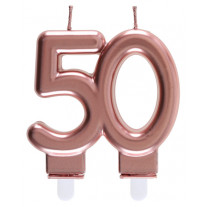 Bougie anniversaire 50 Ans rose gold