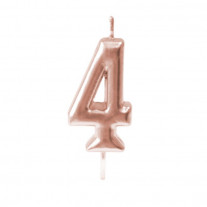 Bougie anniversaire Chiffre 4 Rose gold