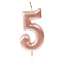 Bougie anniversaire Chiffre 5 Rose gold