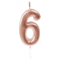 Bougie anniversaire Chiffre 6 Rose gold