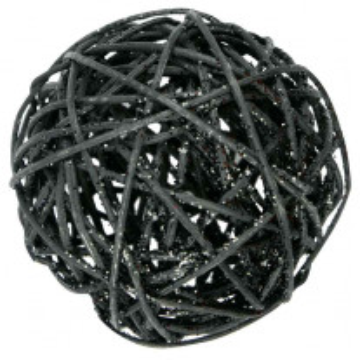 Boule en Osier Noir pailletée 20 cm
