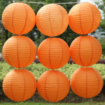 Boule en papier lampion ORANGE 50 cm