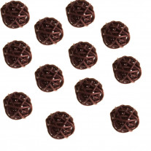 Boule en rotin Chocolat 3cm