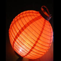 Boule japonaise Orange lanterne avec LED 30cm