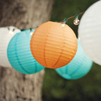 Boule lampion en papier Orange 30cm X2 (Badaboum)