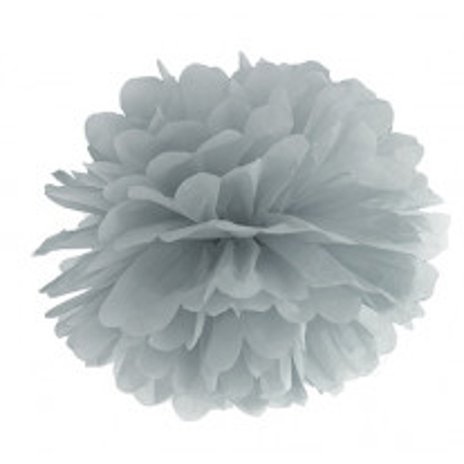 Boule pompon papier de soie Argent 25cm