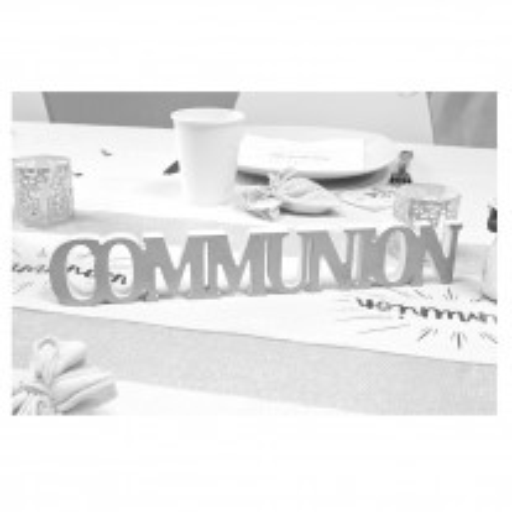 Centre de Table Mot Communion métallisé Argent
