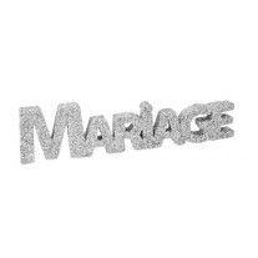 Centre de Table Mot Mariage pailletté Argent