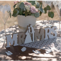 Centre de Table Mr Mrs en bois naturel