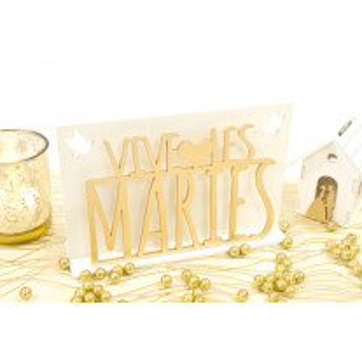 Centre de Table Vive les Mariés Or avec Colombes