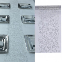 Chemin de table en organza arabesque Argent