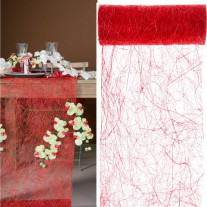 Chemin de table en abaca Rouge 30cm
