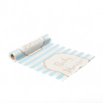 Chemin de table en lin Babyshower bleu ciel