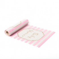 Chemin de table en lin Babyshower rose