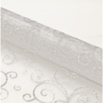 Chemin de table en organza arabesque Blanc