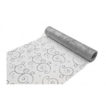 Chemin de table en organza arabesque Gris