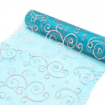 Chemin de table en organza arabesque Turquoise