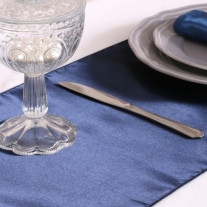 Chemin de table en satin bleu marine 36cm