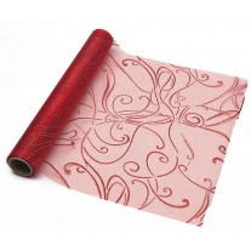 Chemin de table en organza arabesque Rouge