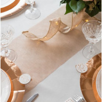 Chemin de table mariage organza Rose gold
