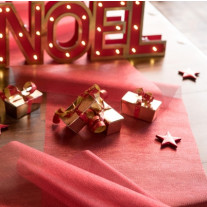 Chemin de table mariage organza Rouge gold