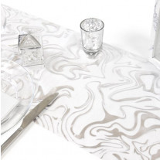 Chemin de table organza marbre Argent