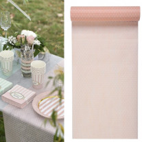 Chemin de table intisse Plumetis Rose