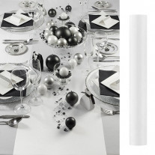 Chemin de table mariage en satin Blanc 36cm x 9 mètres