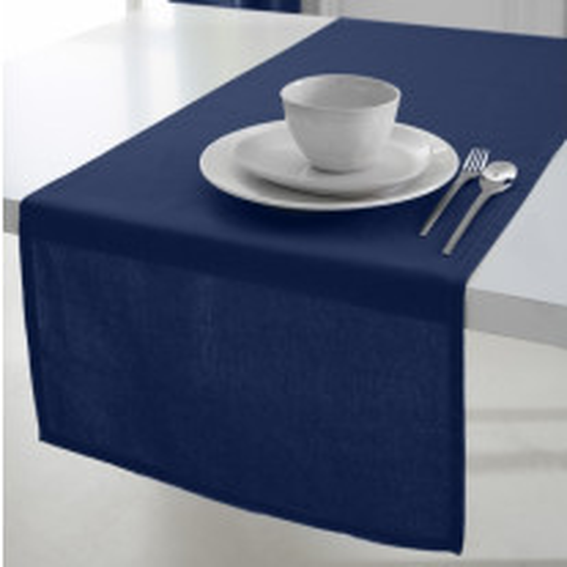 Chemin de table en coton pas cher Bleu Marine 50x150